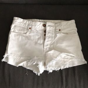 Free people white high waist jean shorts